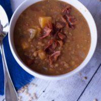 Instant Pot Lentil Soup with Sweet Potatoes & Bacon