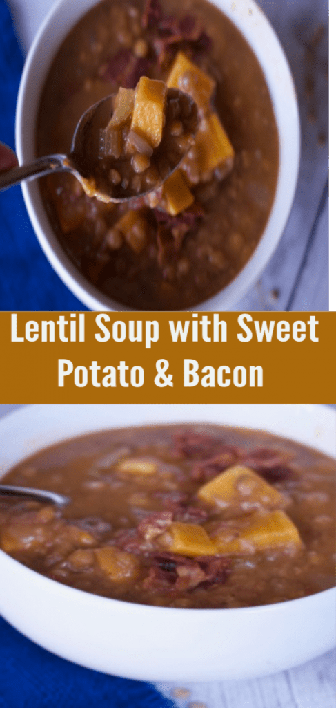 Instant Pot Lentil soup with sweet potatoes and Bacon