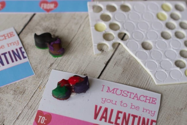 Valentines Cards With Melted Mustache Crayons with Free Printable