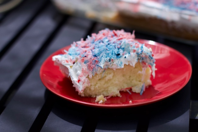 4th of july Coconut Cake slice