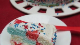 Red White & Blue Checkerboard Cake and Patriotic Party Ideas