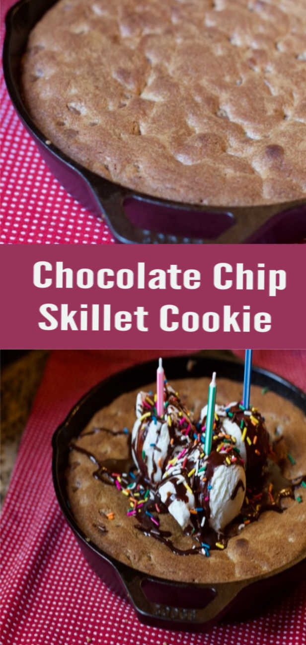 skillet chocolate Chip cookie pizookie