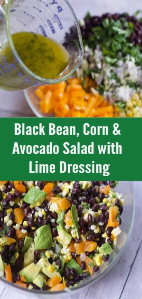 Black bean corn avocado salad lime dressing