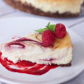 Amazingly Easy White Chocolate Raspberry Cheesecake