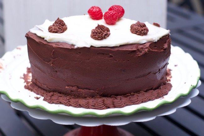 Two Frosting Chocolate Cake with Raspberry Filling