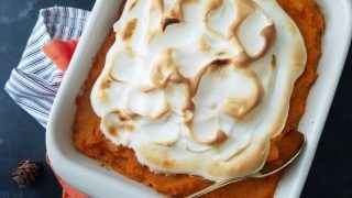 Easy Make-Ahead Sweet Potato Casserole with Toasted Meringue