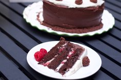 Chocolate Cake with Fresh Raspberry & Two Frostings