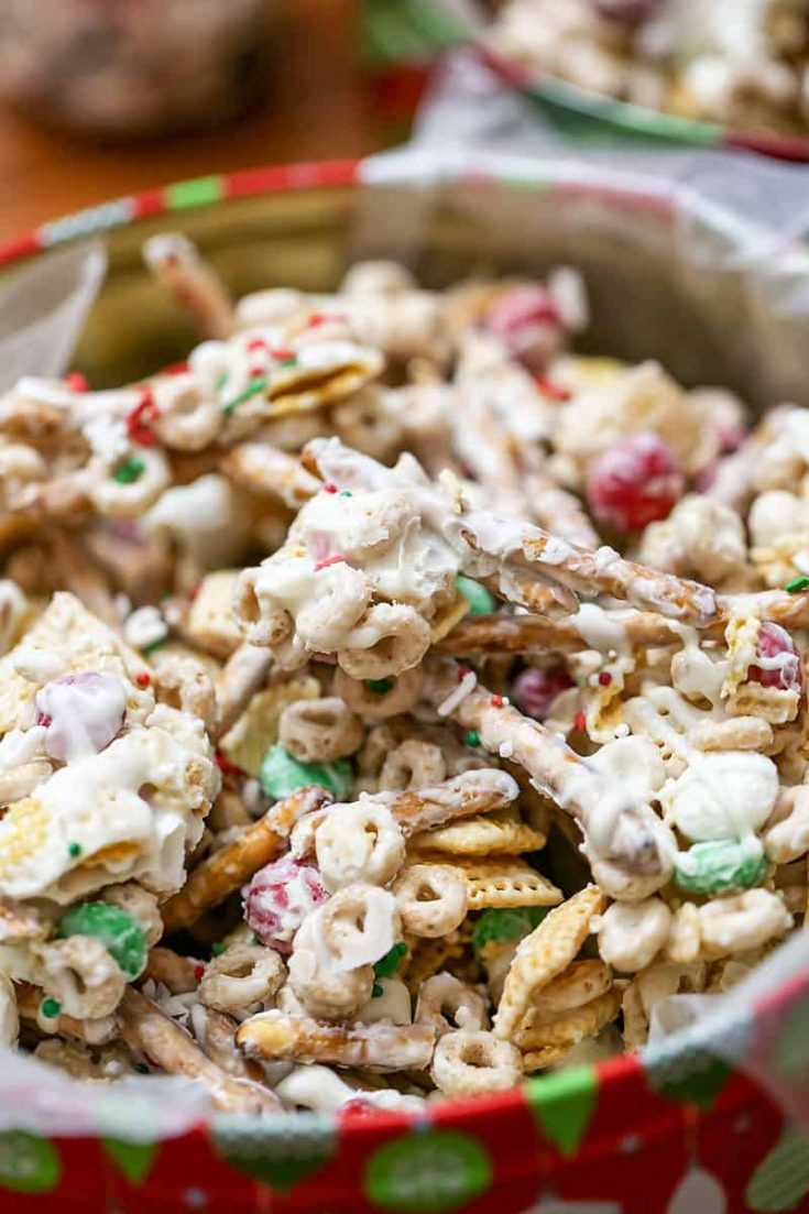 White Chocolate Christmas Trash Snack Mix