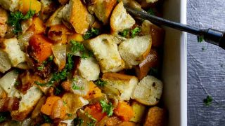 Homemade Bread Stuffing with Butternut Squash & Bacon