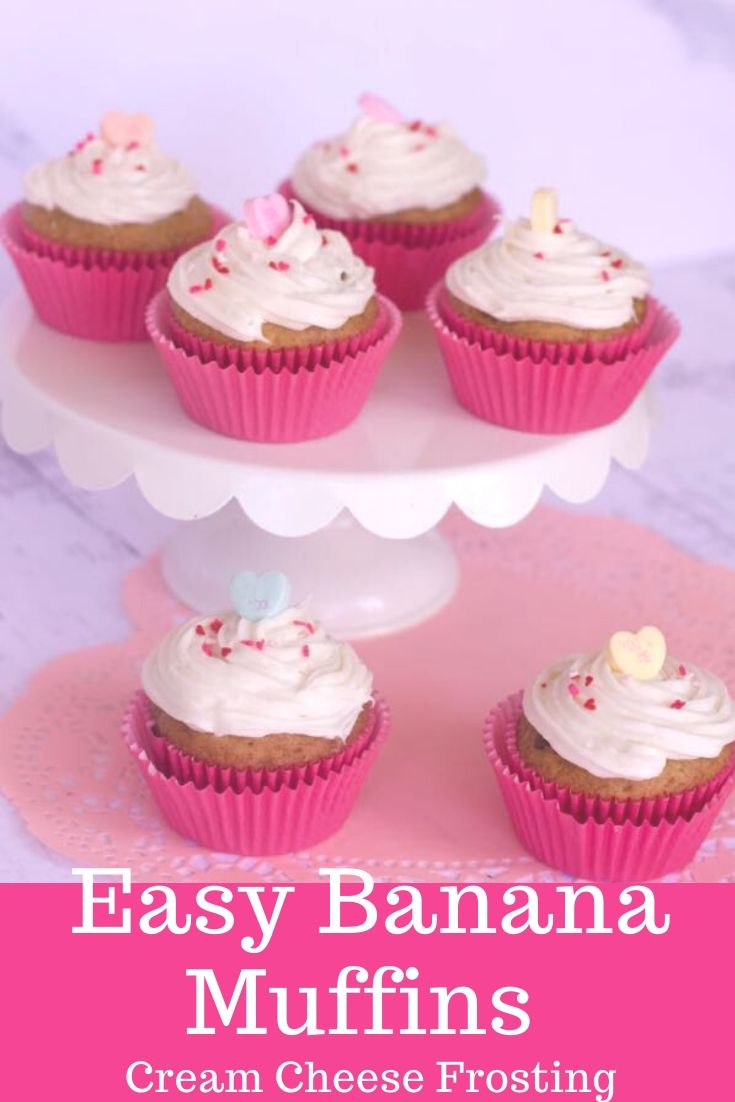 Easy banana muffins with cream cheese frosting