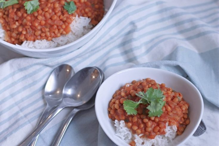 """Curried Lentils """"Stew"""" with Rice"""