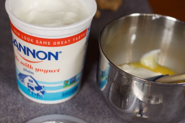 making creamy lemon bars with yogurt