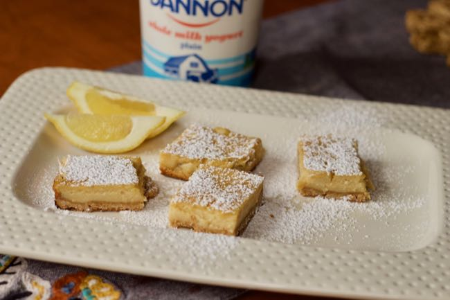 Yogurt lemon bars with yogurt container
