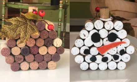 Wine Cork Pumpkin and Wine Cork Snowman Combo