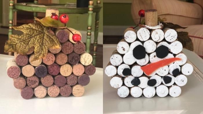 Wine Cork Pumpkin and Wine Cork Snowman Combo