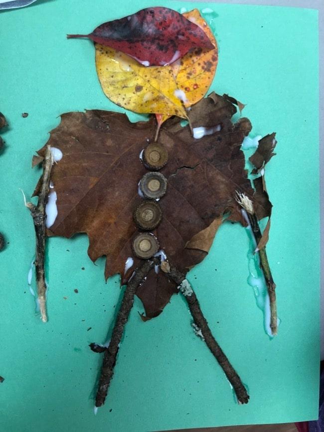 fall scavenger hunt art leaf man
