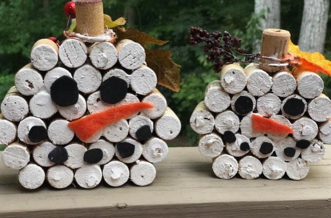two wine cork snowmen