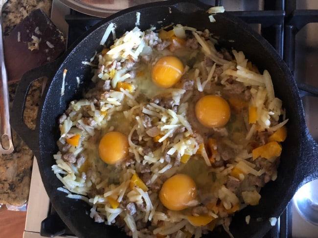Eggs in a basket skillet