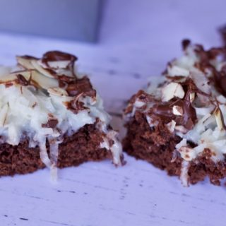 long shot of almond joy brownies from box mix
