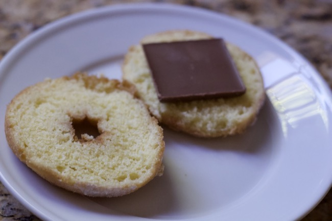 making a smore with donuts